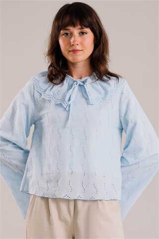 Seyyar Yakalı Gömlek Bebe Mavisi - Thumbnail