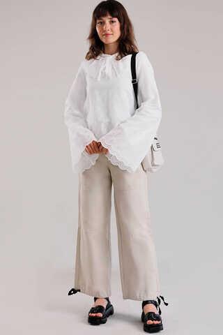 Seyyar Yakalı Gömlek Beyaz - Thumbnail