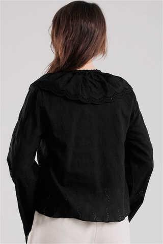 Seyyar Yakalı Gömlek Siyah - Thumbnail