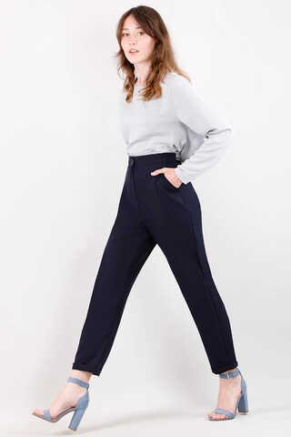 Straight Kumaş Pantolon Lacivert - Thumbnail