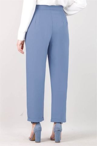 Straight Kumaş Pantolon Mavi - Thumbnail