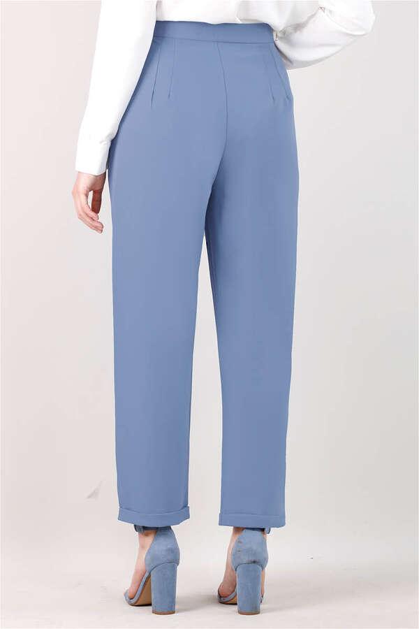 Straight Kumaş Pantolon Mavi