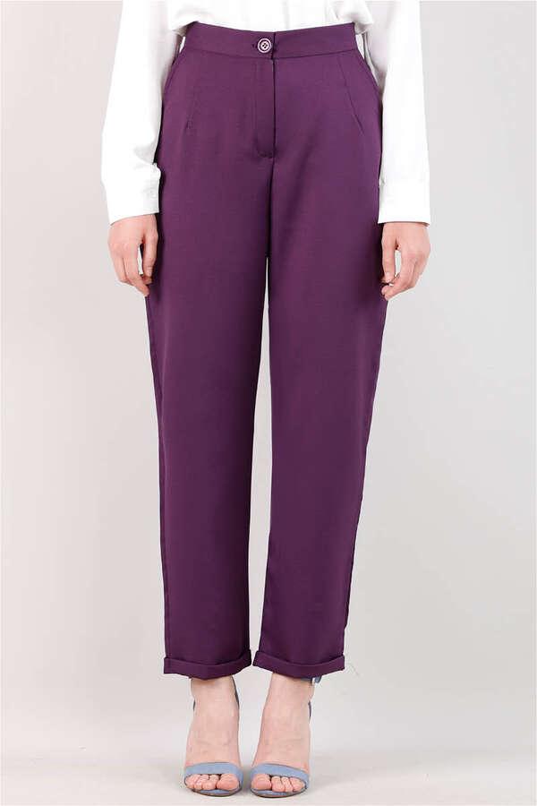 Straight Kumaş Pantolon Mor