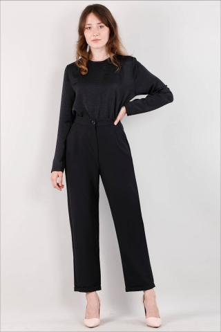 Zulays - Straight Kumaş Pantolon Siyah