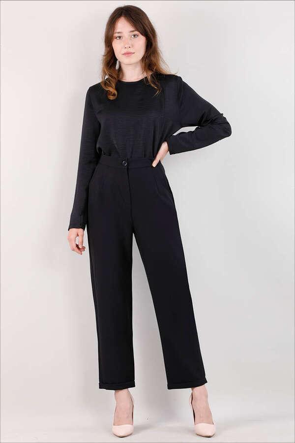 Straight Kumaş Pantolon Siyah