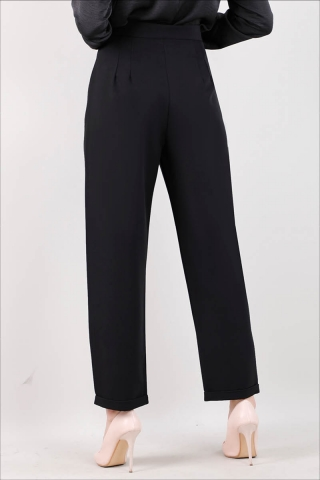 Straight Kumaş Pantolon Siyah - Thumbnail