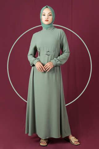 Zulays - Toka Kemerli Elbise Mint