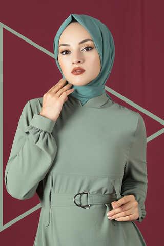 Toka Kemerli Elbise Mint - Thumbnail