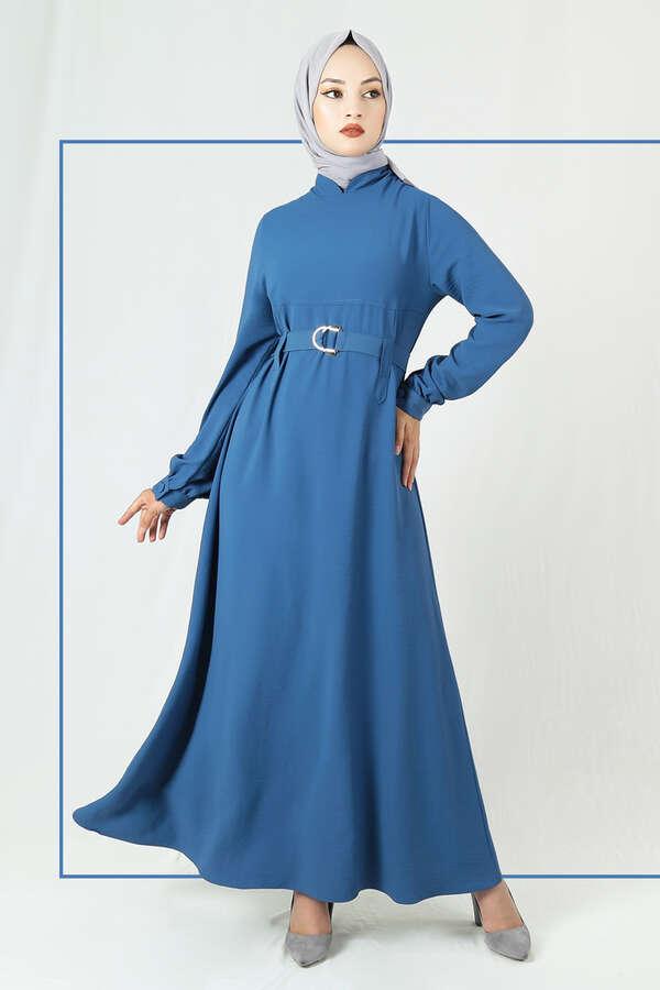 Toka Kemerli Elbise İndigo