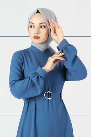 Toka Kemerli Elbise İndigo - Thumbnail