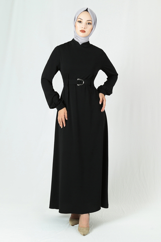 Toka Kemerli Elbise Siyah - Thumbnail
