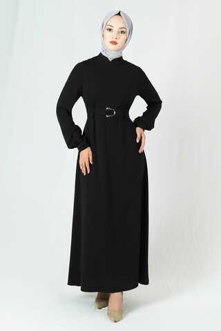 Zulays - Toka Kemerli Elbise Siyah