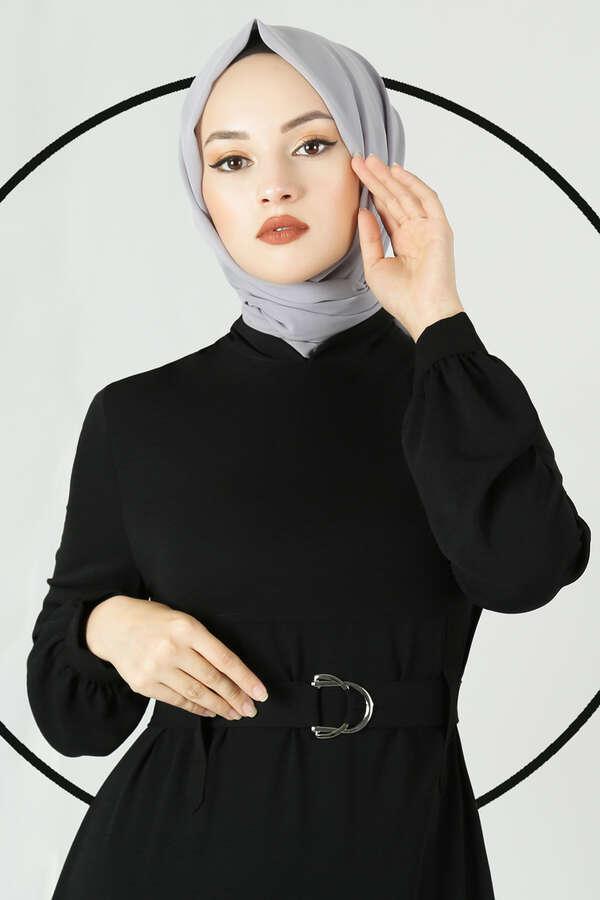 Toka Kemerli Elbise Siyah