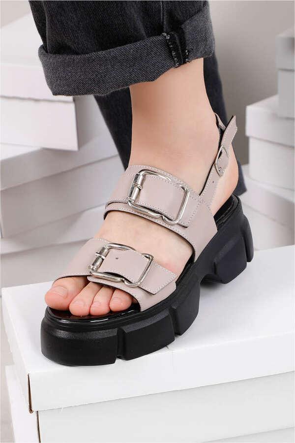 Tokalı Sandalet Vizon
