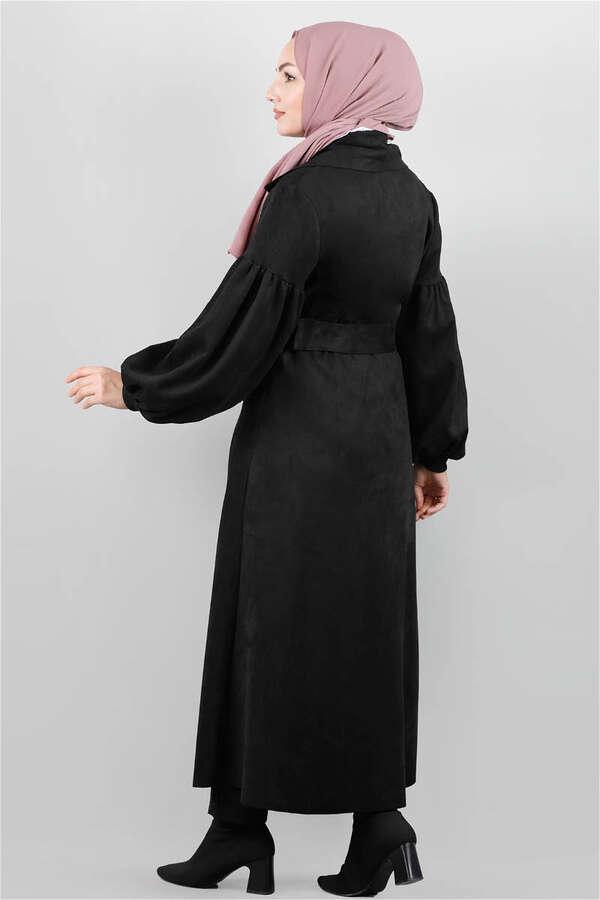 Uzun Süet Kemerli Siyah Kap
