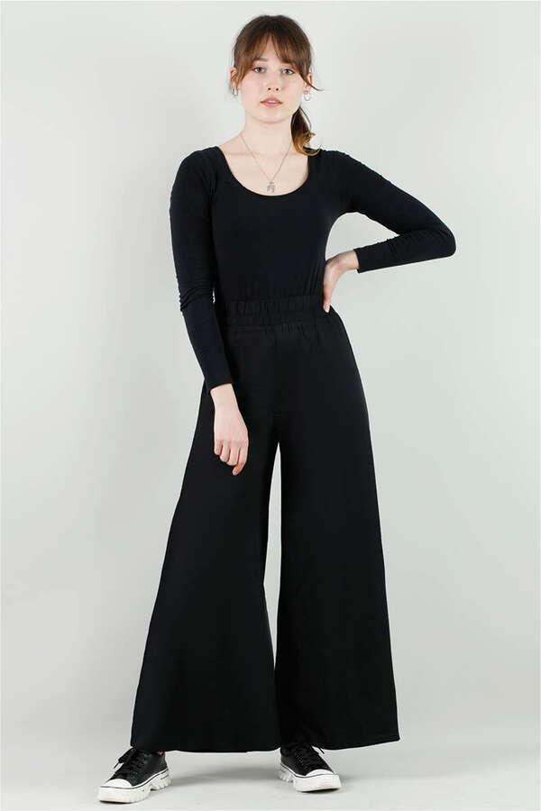 Viskon Salaş Pantolon Siyah