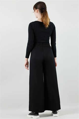 Viskon Salaş Pantolon Siyah - Thumbnail