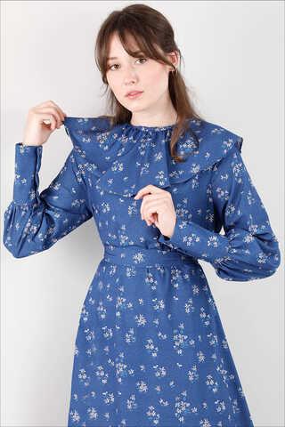 Volanlı Büzgülü Yaka Elbise İndigo - Thumbnail