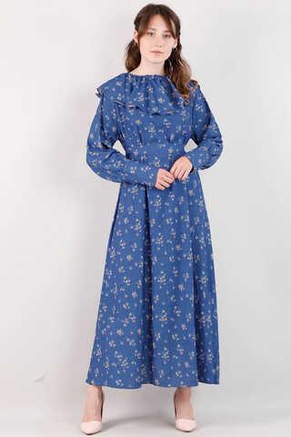 Zulays - Volanlı Büzgülü Yaka Elbise İndigo