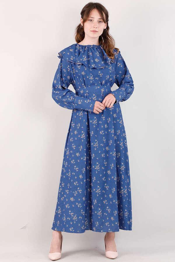 Volanlı Büzgülü Yaka Elbise İndigo
