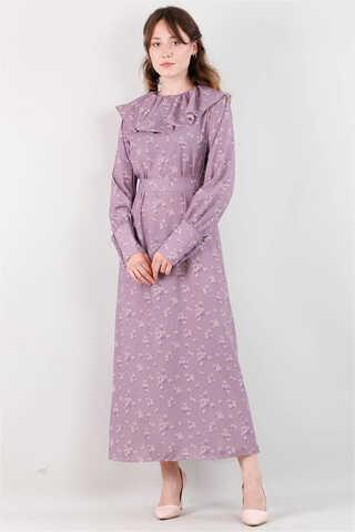 Zulays - Volanlı Büzgülü Yaka Elbise Lila