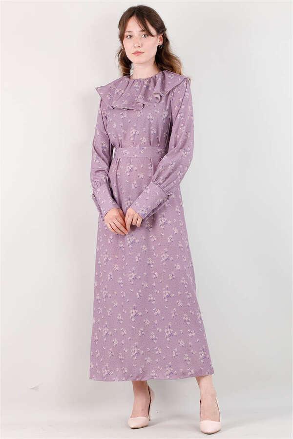 Volanlı Büzgülü Yaka Elbise Lila