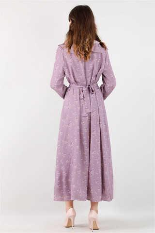 Volanlı Büzgülü Yaka Elbise Lila - Thumbnail