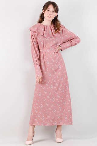 Volanlı Büzgülü Yaka Elbise Pudra Pembesi - Thumbnail