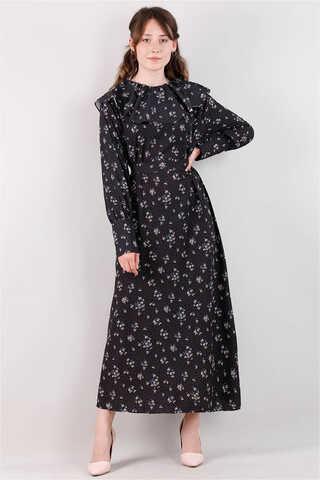Zulays - Volanlı Büzgülü Yaka Elbise Siyah