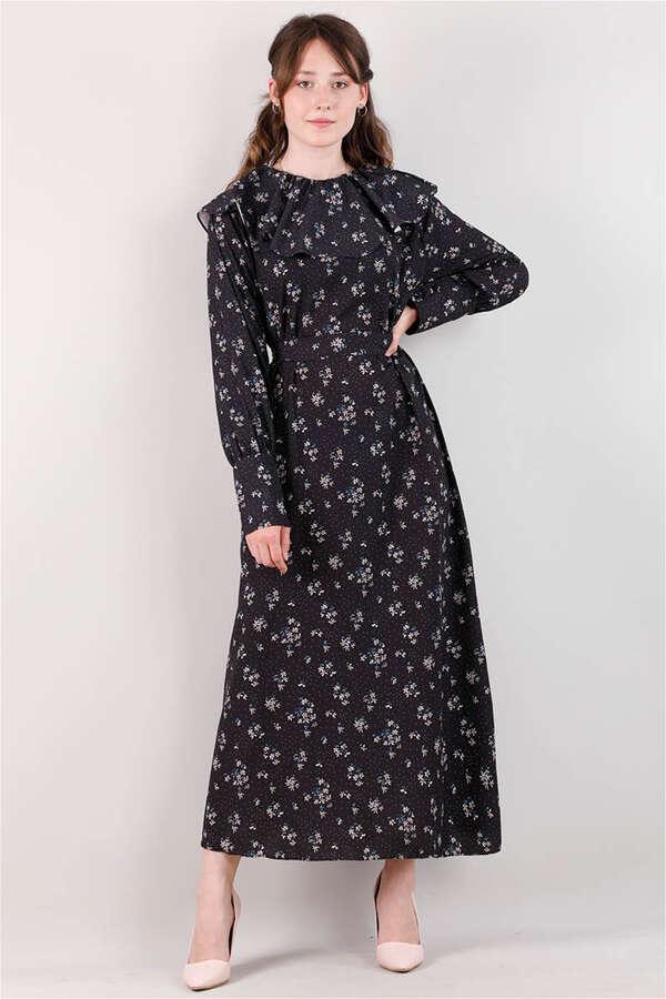 Volanlı Büzgülü Yaka Elbise Siyah