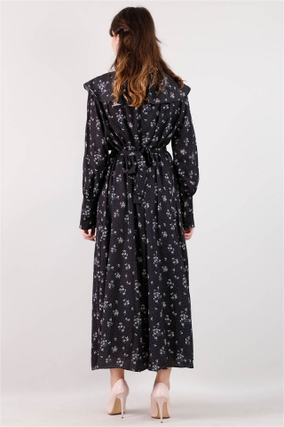 Volanlı Büzgülü Yaka Elbise Siyah - Thumbnail