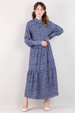 Zulays - Yakası Büzgülü Elbise İndigo