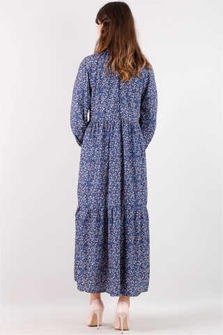 Yakası Büzgülü Elbise İndigo - Thumbnail