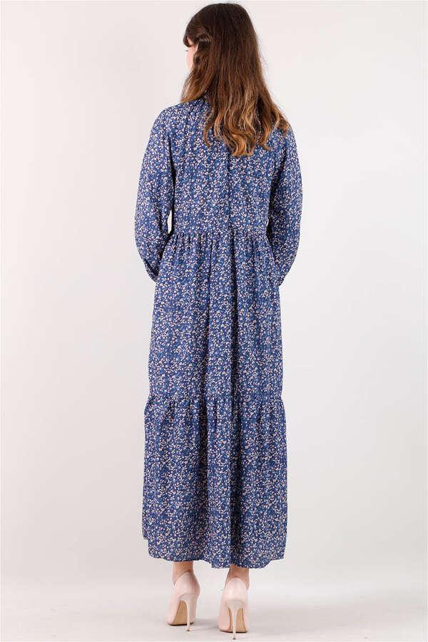 Yakası Büzgülü Elbise İndigo