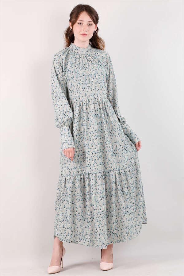 Yakası Büzgülü Elbise Mint