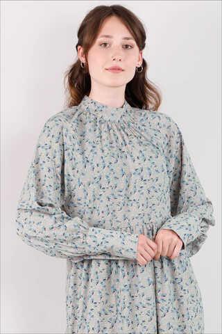Yakası Büzgülü Elbise Mint - Thumbnail