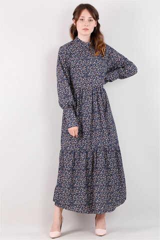 Zulays - Yakası Büzgülü Elbise Siyah