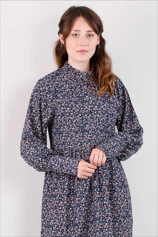 Yakası Büzgülü Elbise Siyah - Thumbnail