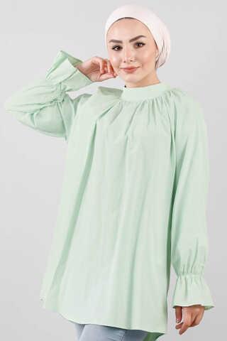 - Yakası Büzgülü Tunik Su Yeşili
