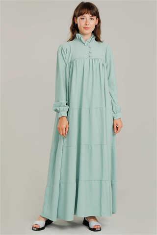 Yakası Fırfırlı Beli Kemerli Elbise Su Yeşili - Thumbnail