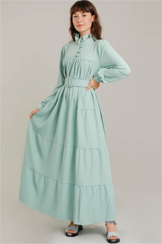 Zulays - Yakası Fırfırlı Beli Kemerli Elbise Su Yeşili
