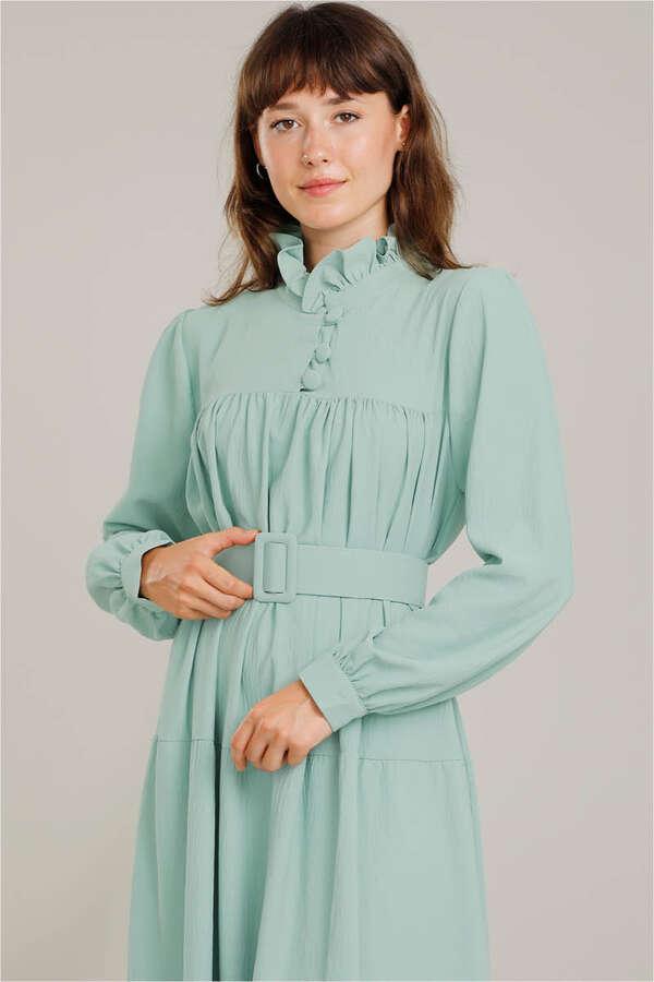 Yakası Fırfırlı Beli Kemerli Elbise Su Yeşili