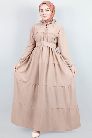 Yakası Fırfırlı Beli Kemerli Elbise Vizon - Thumbnail