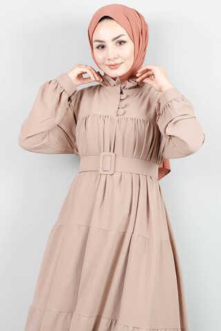 Zulays - Yakası Fırfırlı Beli Kemerli Elbise Vizon