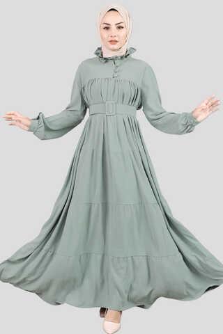 Zulays - Yakası Fırfırlı Beli Kemerli Elbise Mint