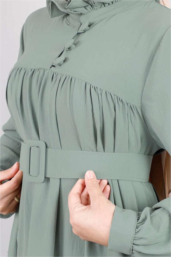 Yakası Fırfırlı Beli Kemerli Elbise Mint