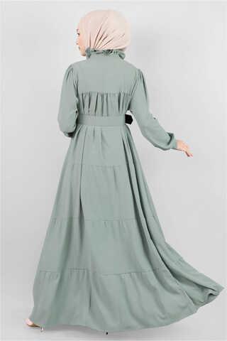Yakası Fırfırlı Beli Kemerli Elbise Mint - Thumbnail