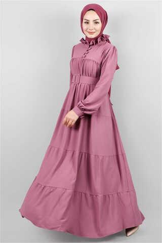 Zulays - Yakası Fırfırlı Beli Kemerli Elbise Gül Kurusu