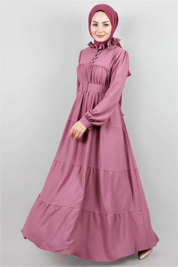 Yakası Fırfırlı Beli Kemerli Elbise Gül Kurusu