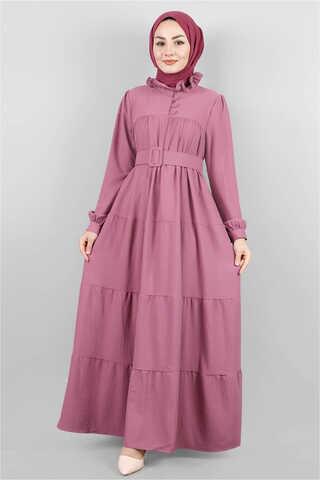 Yakası Fırfırlı Beli Kemerli Elbise Gül Kurusu - Thumbnail